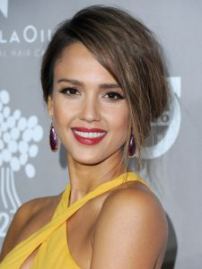 Jessica Alba with Ruby Red Lipstick
