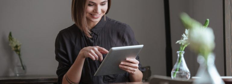 female student using tablet