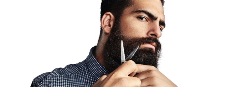 barber cutting his beard
